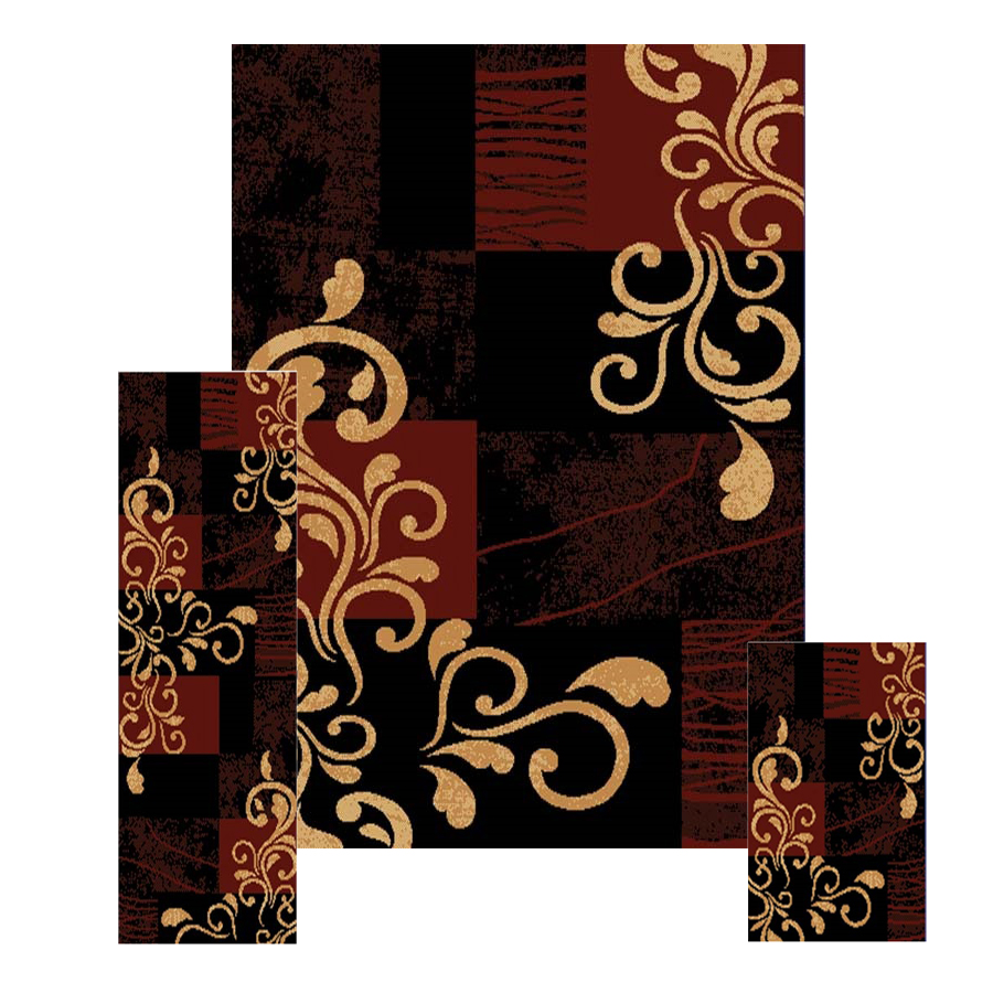 pc set modern contemporary geometric area rug runner accent mat  - pcsetmoderncontemporarygeometricarearug