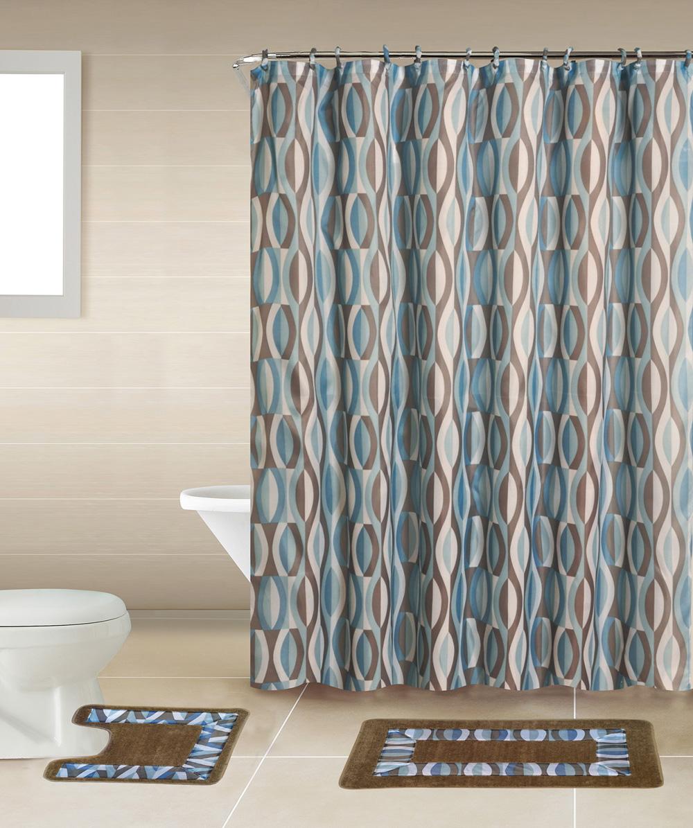 Geometic Helix Swirls Shower Curtain With Hooks Bathroom