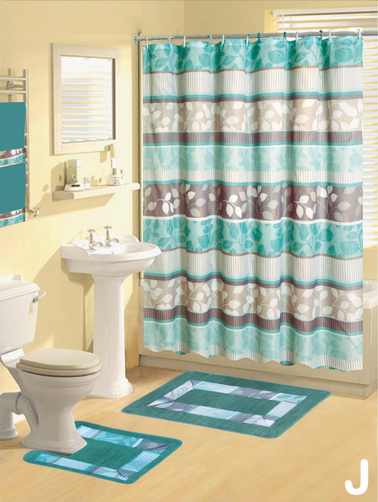 Bathroom shower curtain and rug set - Shower Curtains 17 Pcs Set Contemporary Bath Mat