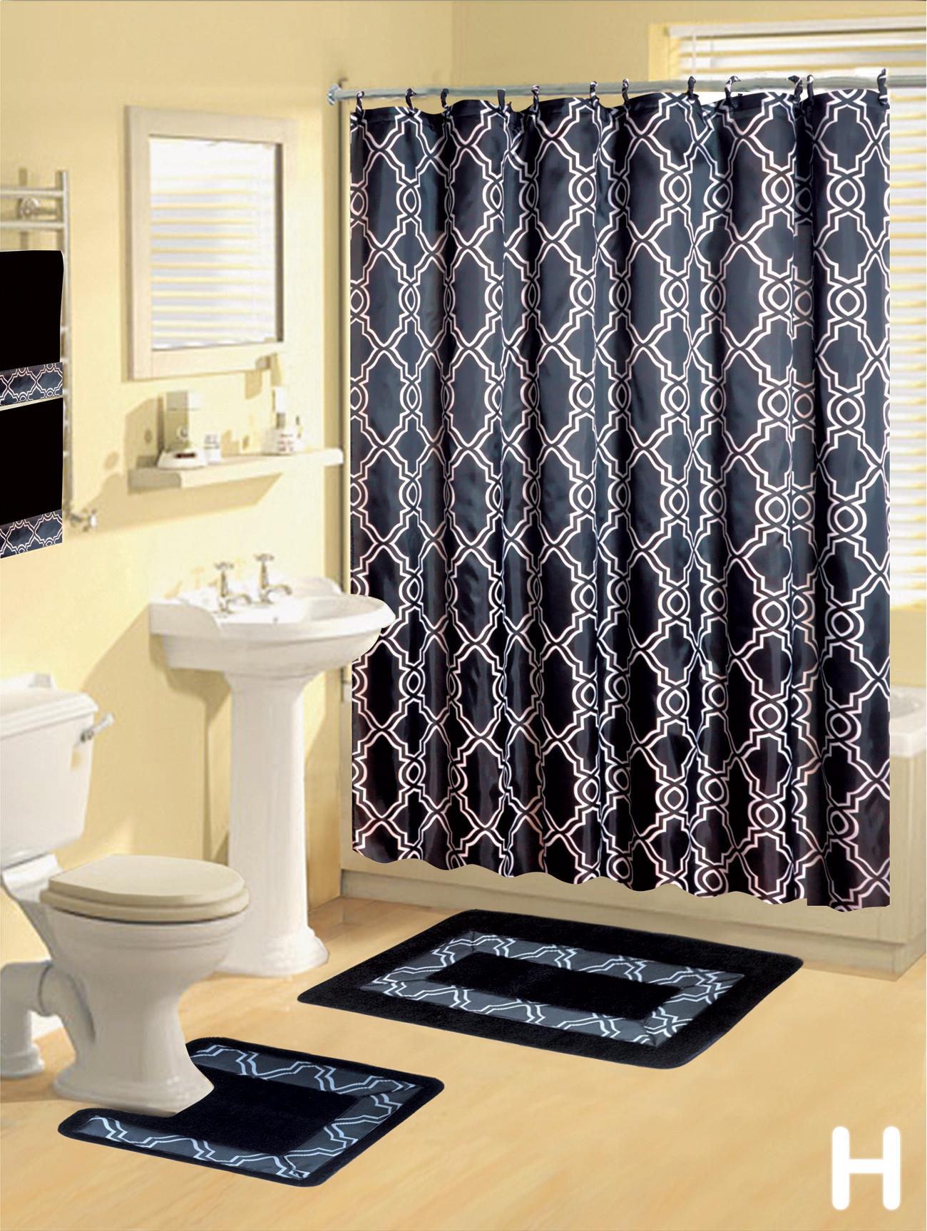 Lavender shower curtain and bath rug set - Shower Curtains 17 Pcs Set Contemporary Bath Mat