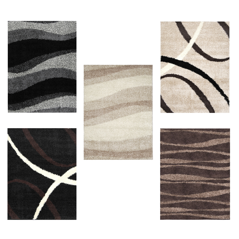 Modern Shag Abstract Area Rug 5x7 Contemporary Flokati ...