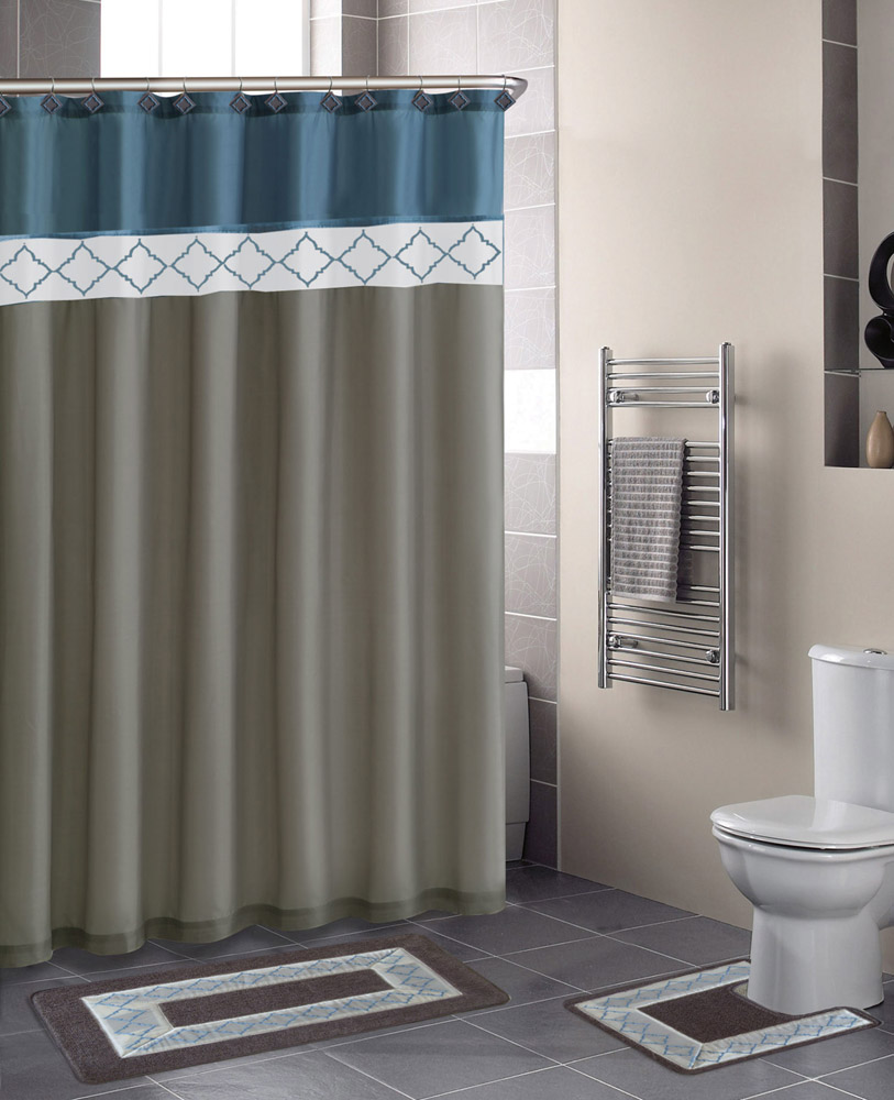 Modern bathroom shower curtains - Contemporary Bath Shower Curtain 15 Pcs Modern Bathroom