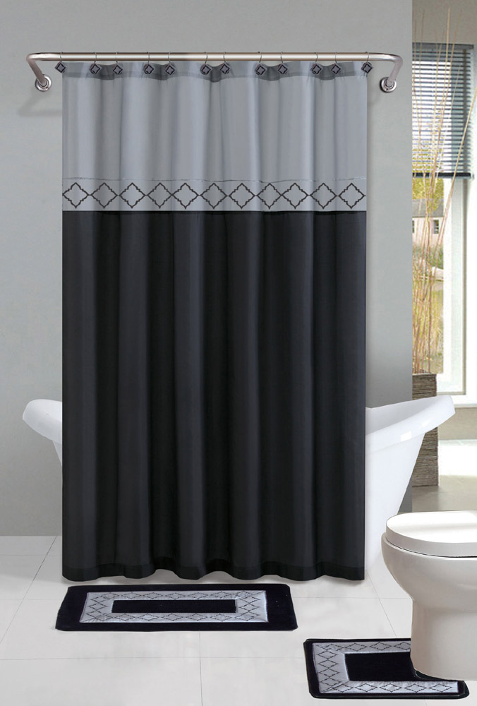 Gray black modern shower curtain 15 pcs bath rug mat for Blue and grey bathroom sets