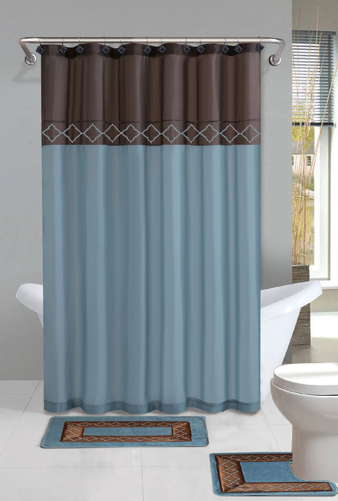brown blue modern shower curtain 15 pcs bath rug mat contour hooks bathroom set ebay. Black Bedroom Furniture Sets. Home Design Ideas
