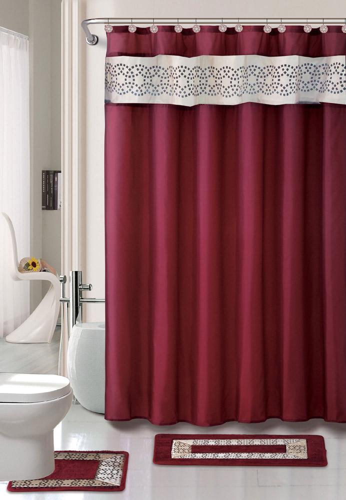 contemporary bath shower curtain  pcs modern bathroom rug mat, Home design