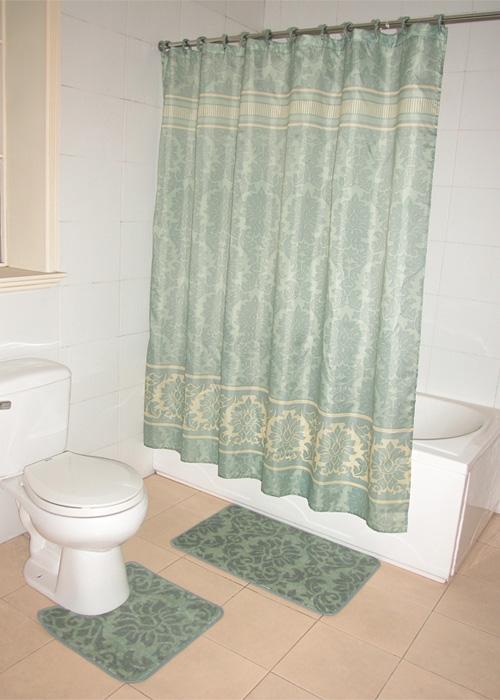green floral damask pattern bathroom shower curtain bath