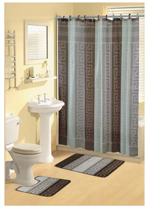 Modern brown cream green greek key shower curtain bathroom for Green and brown bathroom set