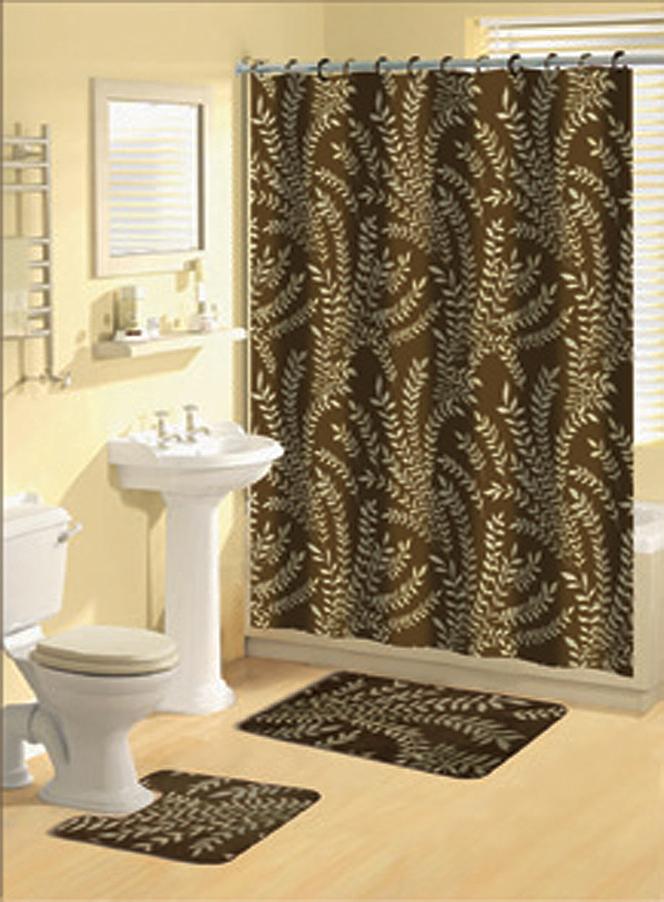 brown multi floral ferns bathroom shower curtain bath