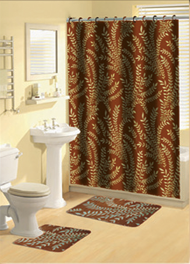 Orange multi floral ferns bathroom shower curtain bath for Bathroom shower curtain and rug set