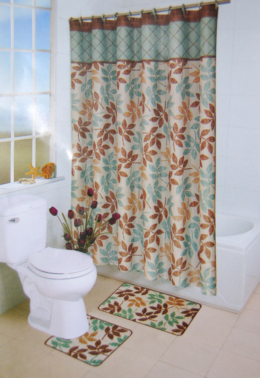 multicolored leaves floral shower curtain bathroom contour