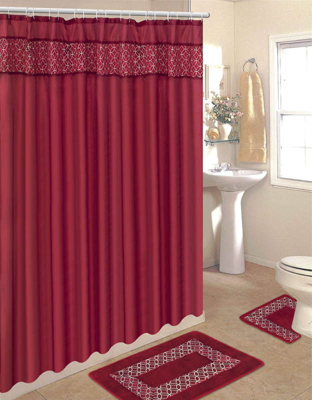Beige and burgundy curtains