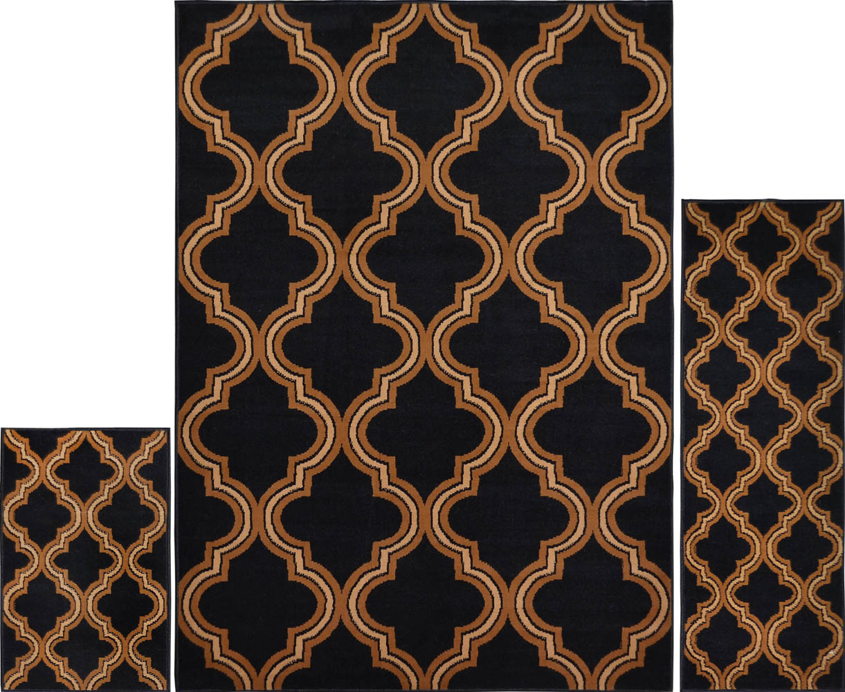 3 Pc Set Modern Contemporary Geometric Area Rug Runner