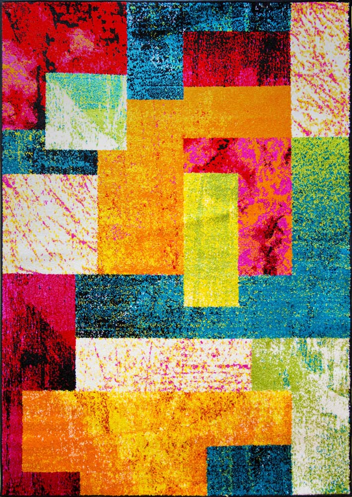 Cubes Boxes Contemporary Area Rug Multicolor Abstract