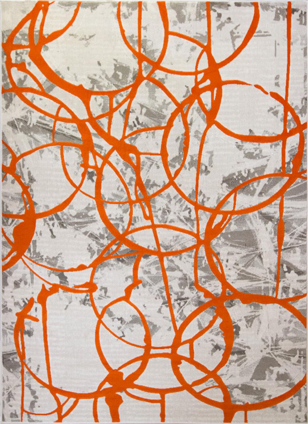 Rugs Ivory Orange Abstract Area Rug Modern Swirls Paint