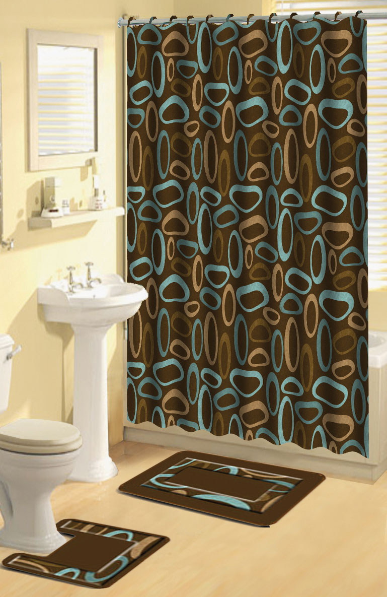 brown beige oval rings 15 pcs shower curtain with hooks