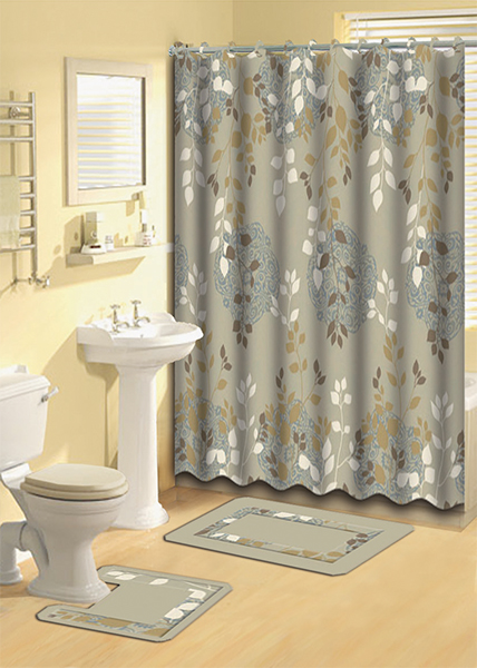 taupe aqua floral vines shower curtain 15 pc bath rug mat contour hooks set ebay. Black Bedroom Furniture Sets. Home Design Ideas
