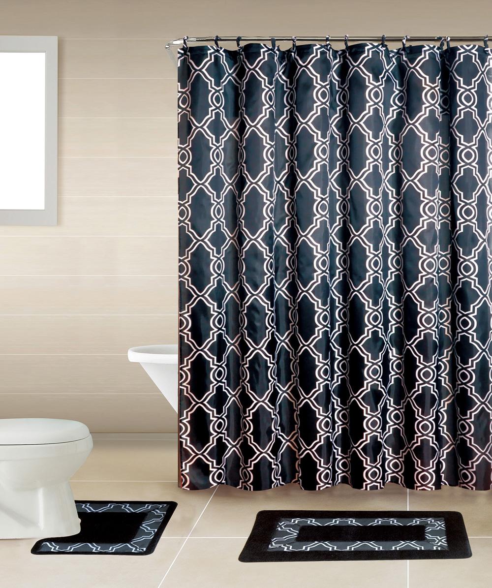 Geometric Trellis Black Multi 15 Pcs Shower Curtain With