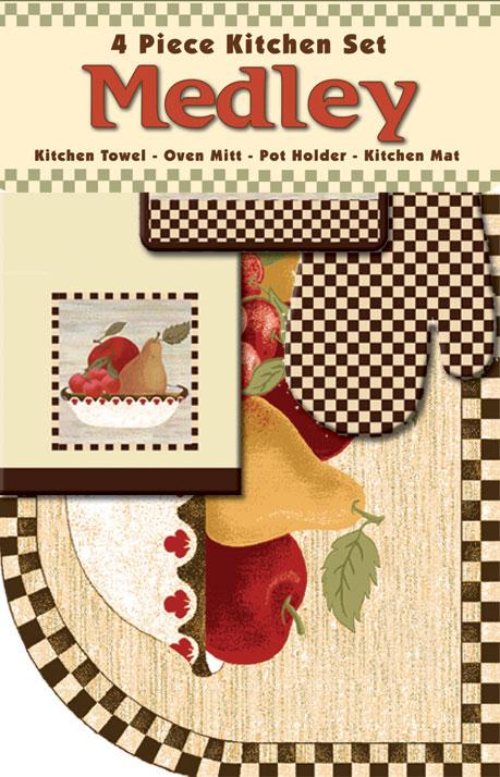 Apples Pears Fruit Bowl Towel Oven Mitt Pot Holder 4 Piece