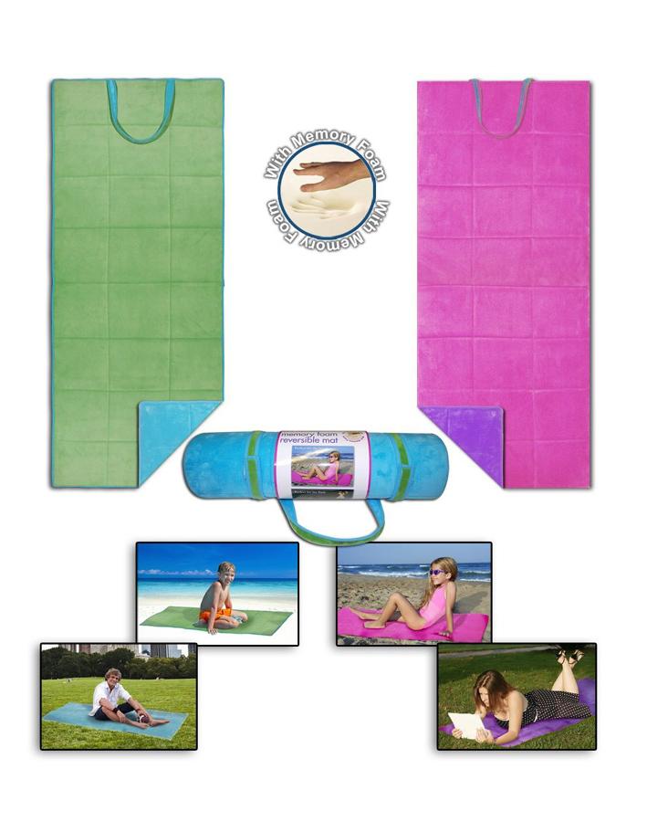 Reversible-Memory-Foam-Microfiber-Beach-Blanket-Picnic-Mat-Actual-20-x-78