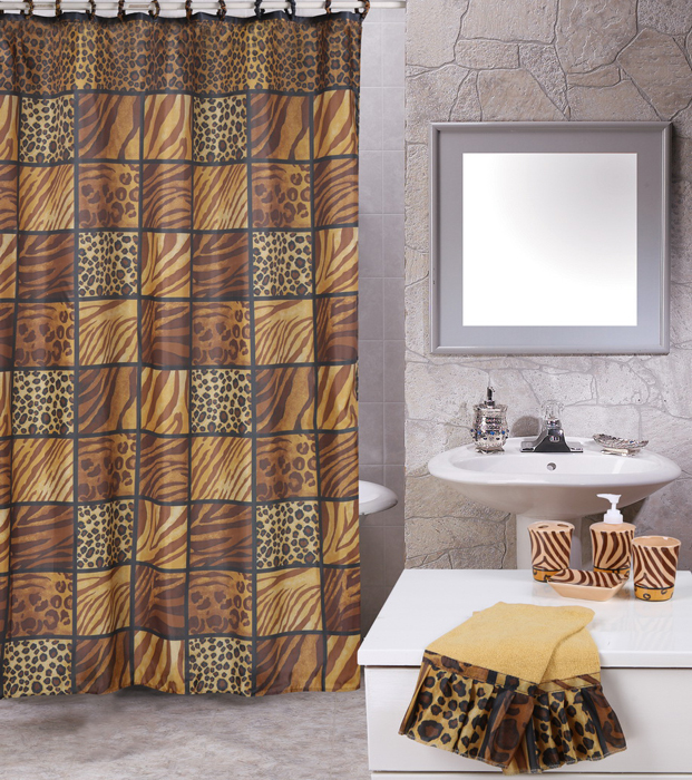 leopard cheetah tiger stripes animal print 19 pc bath shower curtains