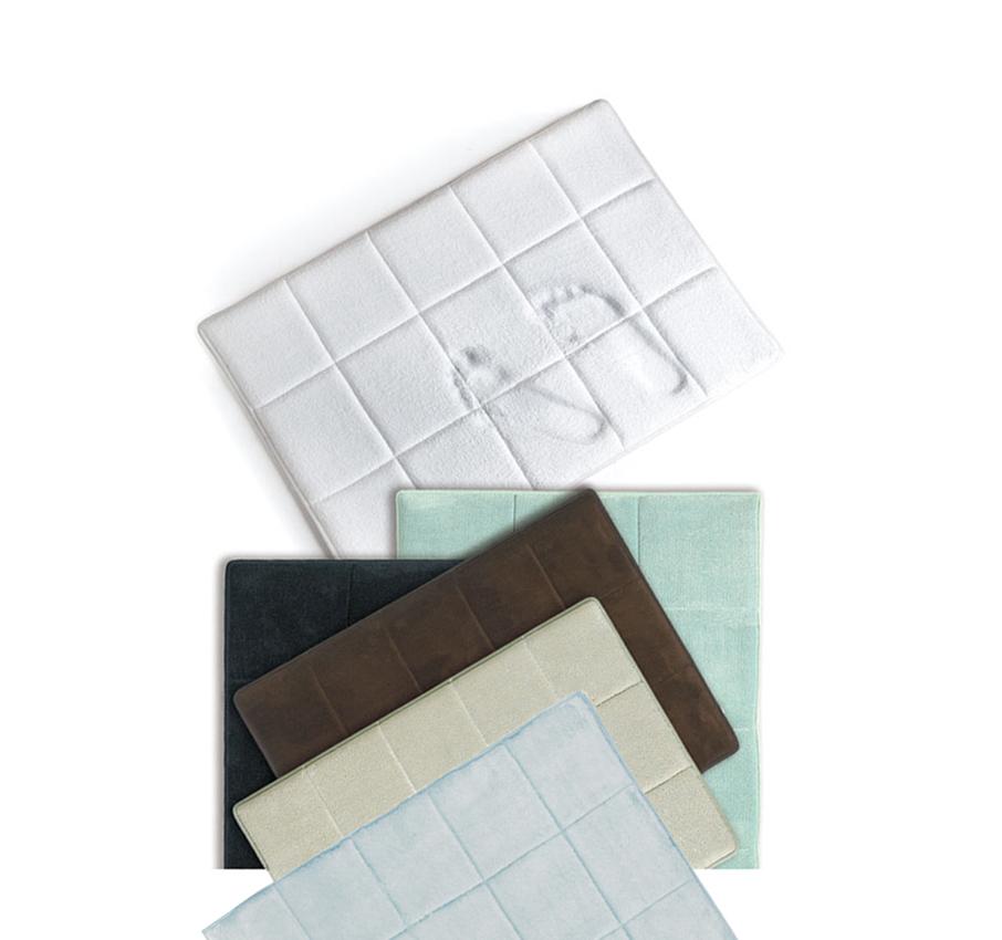 contemporary squares memory foam bathroom microfiber bath mat rug 17 x 24 ebay. Black Bedroom Furniture Sets. Home Design Ideas