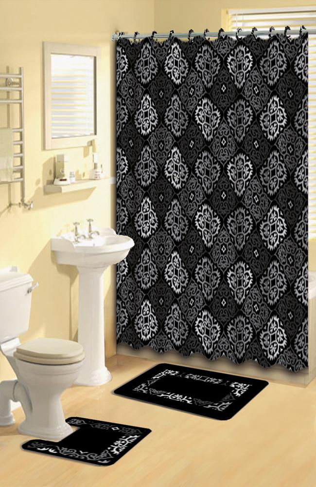 black gray scrolls shower curtain 15 pcs bath rug mat
