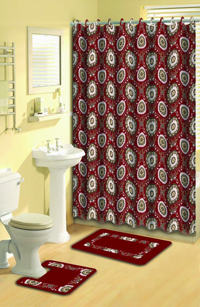 Red Floral Shower Curtain 15 PC Modern Bath Rug Mat Contour Hooks Bathroom Set