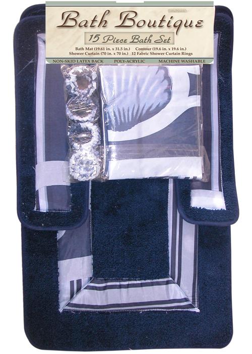Blue navy sea shells 15 pcs shower curtain with hooks for Navy bathroom set