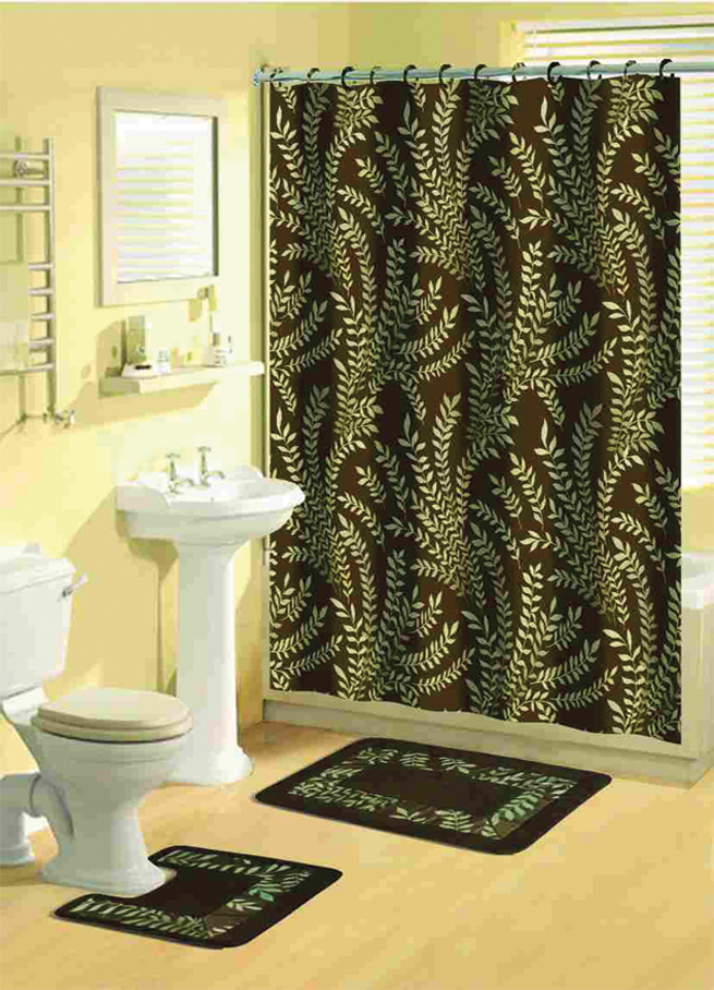 brown multicolored ferns floral 15 pcs shower curtain w