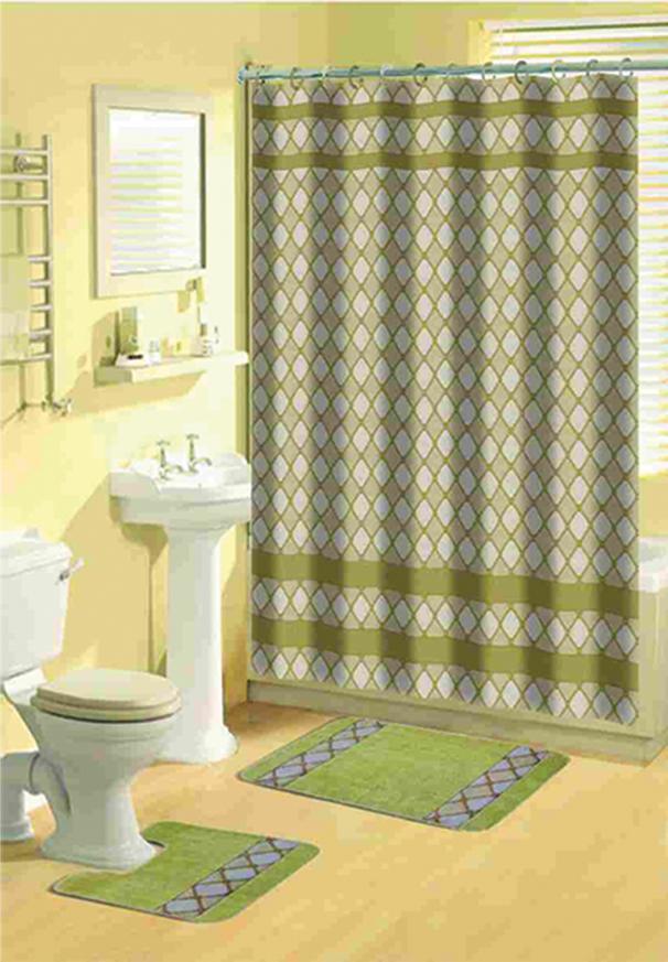Beige diamonds bathroom 15 pcs shower curtain with hooks for Bathroom shower curtain and rug set