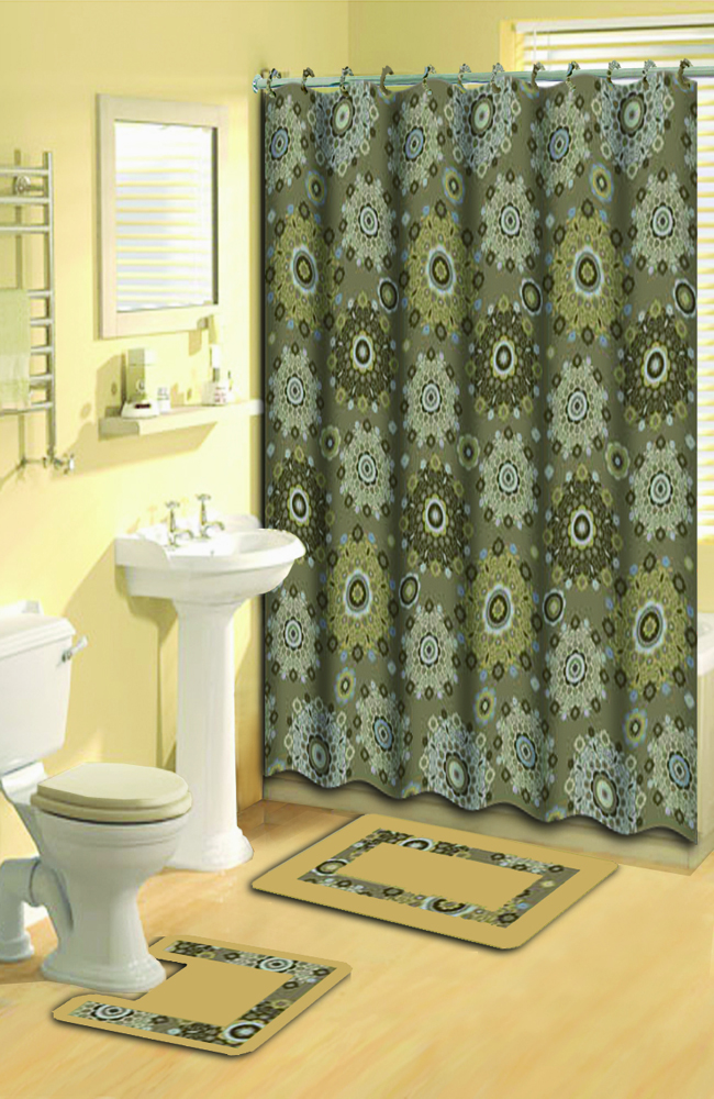 Gold beige shower curtain 15 pc bath rug mat contour hooks for Beige bathroom set