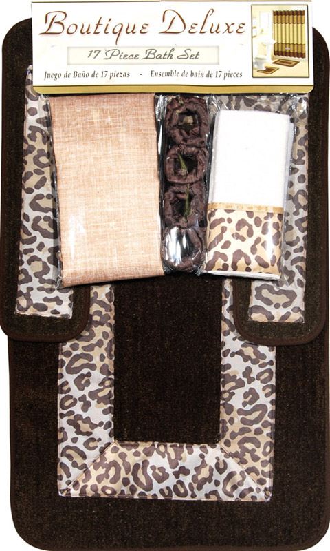 Safari Animal Print 17 Pieces Bath Rug Shower