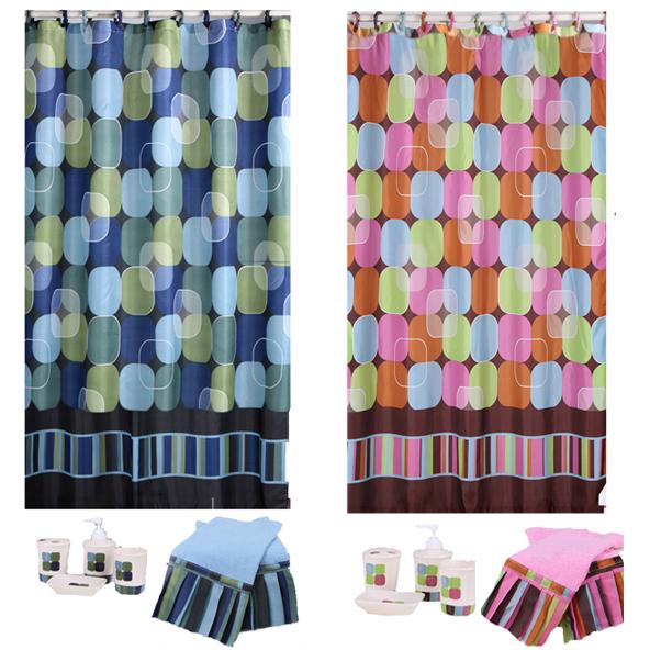 modern geometric multi colored dots 19 piece shower curtains bath