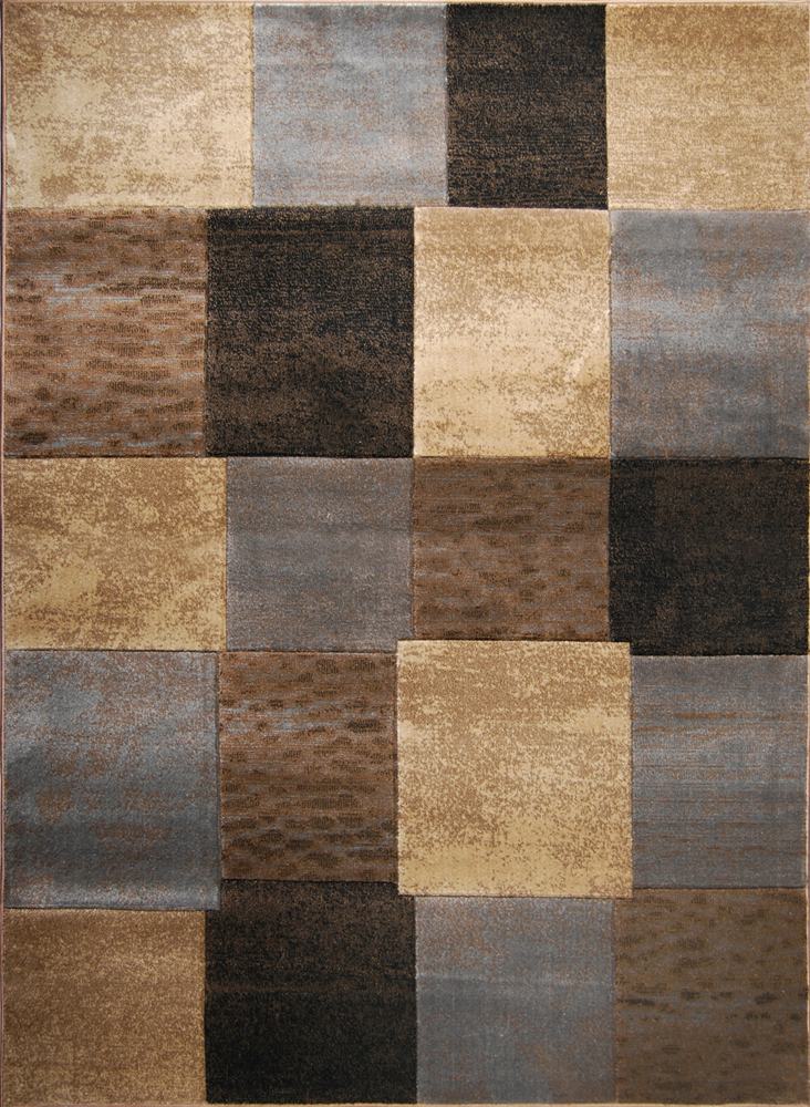 Brown gray modern cubes area rug 8x10 geometric squares for Grey and tan rug