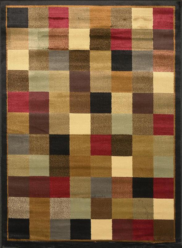 Contemporary geometric squares 5x8 area rug border carpet for Geometric area rugs contemporary