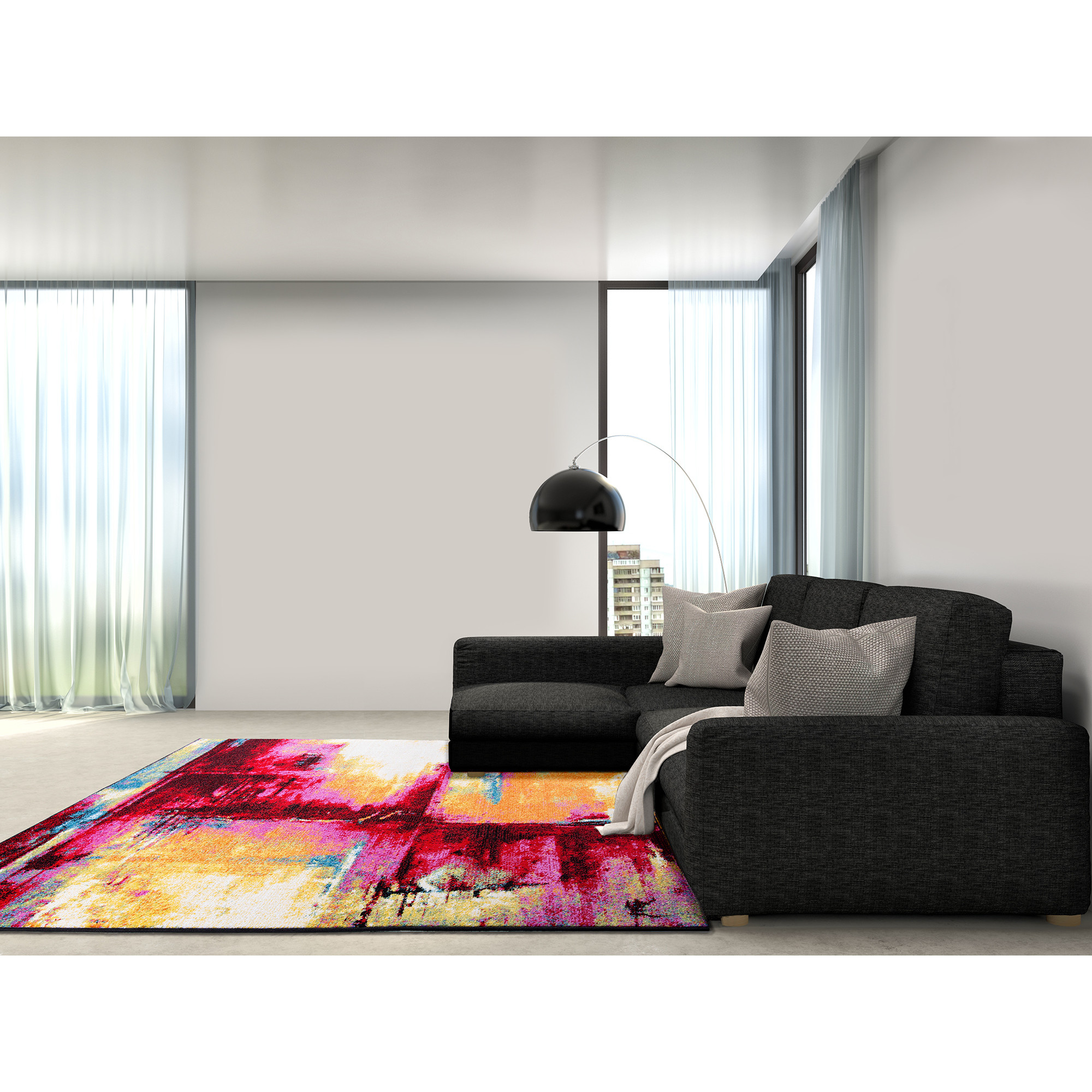 Modern Rug Contemporary Area Rugs Multi Geometric Swirls Lines