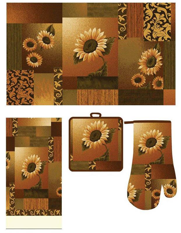 Kitchen-Accessory-Printed-Mat-Cotton-Towel-Oven-Mitt-Pot-Holder-4-Piece-Rug-Set