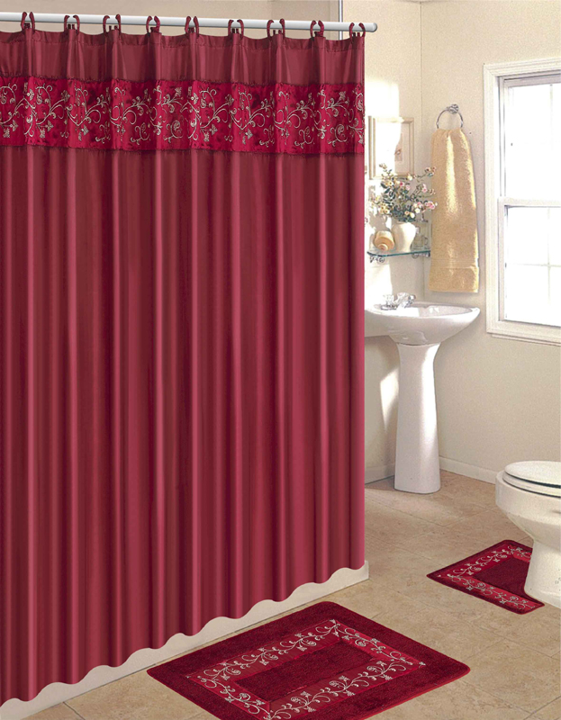 15 pcs bathroom shower curtain hook bath rug contour mat set ebay
