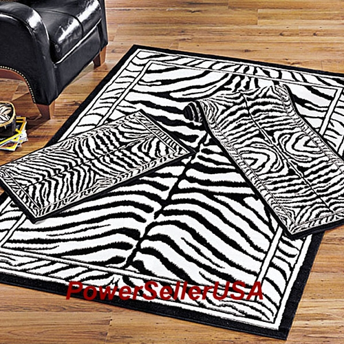 3pc Combo Set Zebra Skin Design Area Rug African Carpet