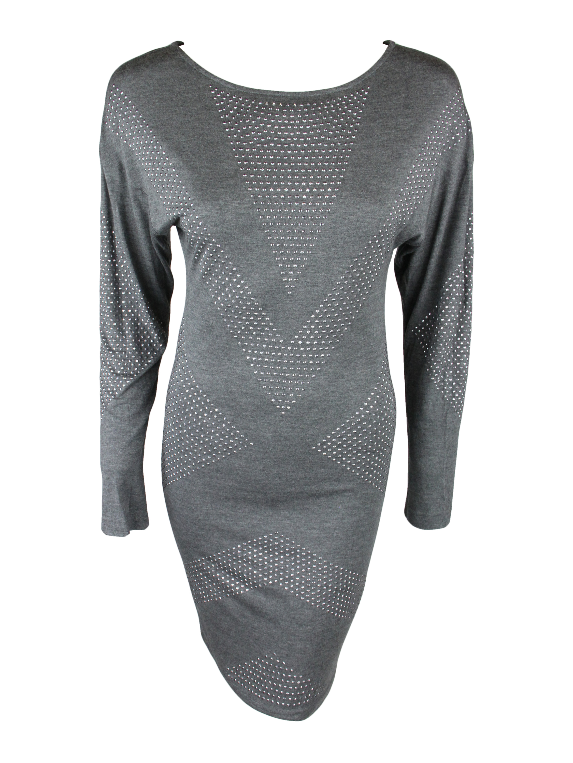 Haute Hippie Womens Charcoal Heather Grey Studded L s Dress XS $396