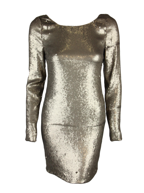 Haute Hippie Womens Sequin Scoop Back Long Sleeve Dress $840 New