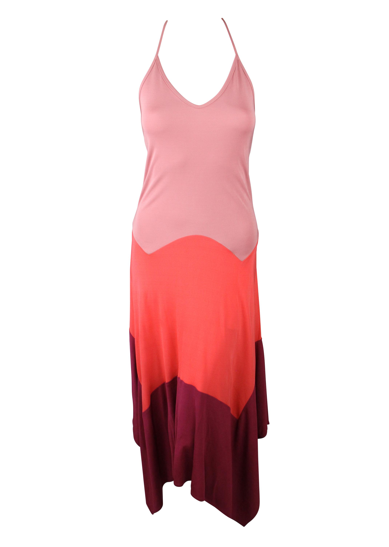 Haute Hippie Womens Colorblock Handkerchief Halter Dress $515 New