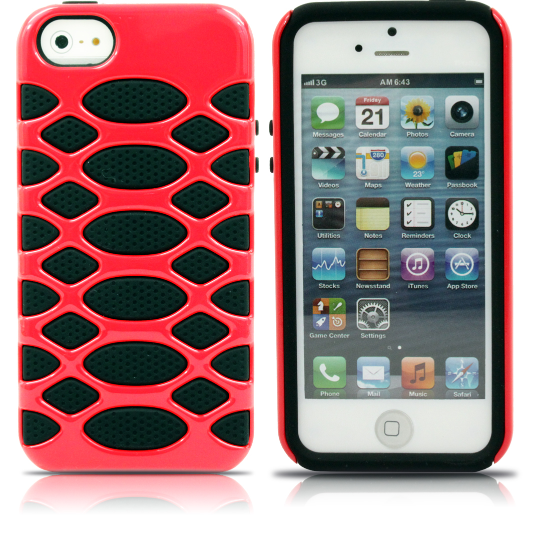 Aleratec Glossy Dual Layer Hard Case Red TPU/Black PC Cover for iPhone 5 at Sears.com