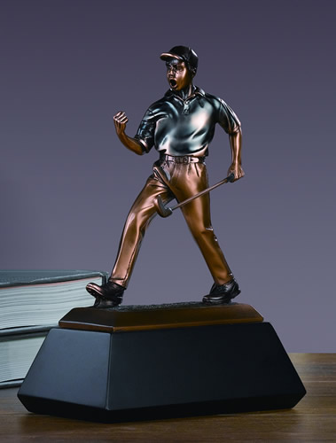 Golf Winner Bronze Plated Statue Sculpture Figurine