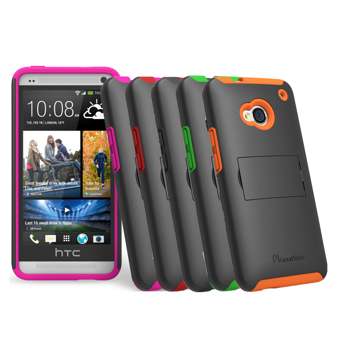 Htc One M7 Protective Hybrid Impact Case Cover W