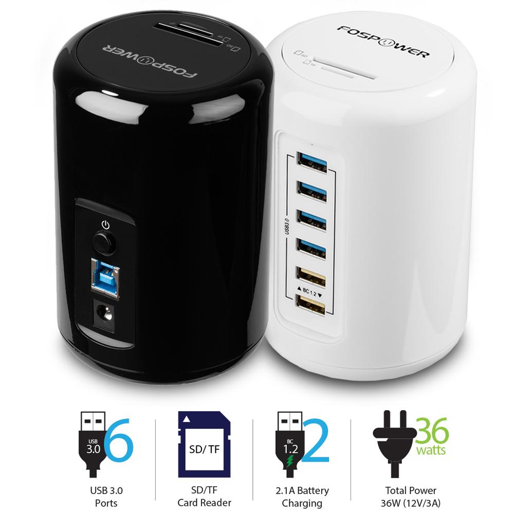 FosPower 6 Port USB 3.0 Hub w/ 2 Charge Port + SD / TF ...