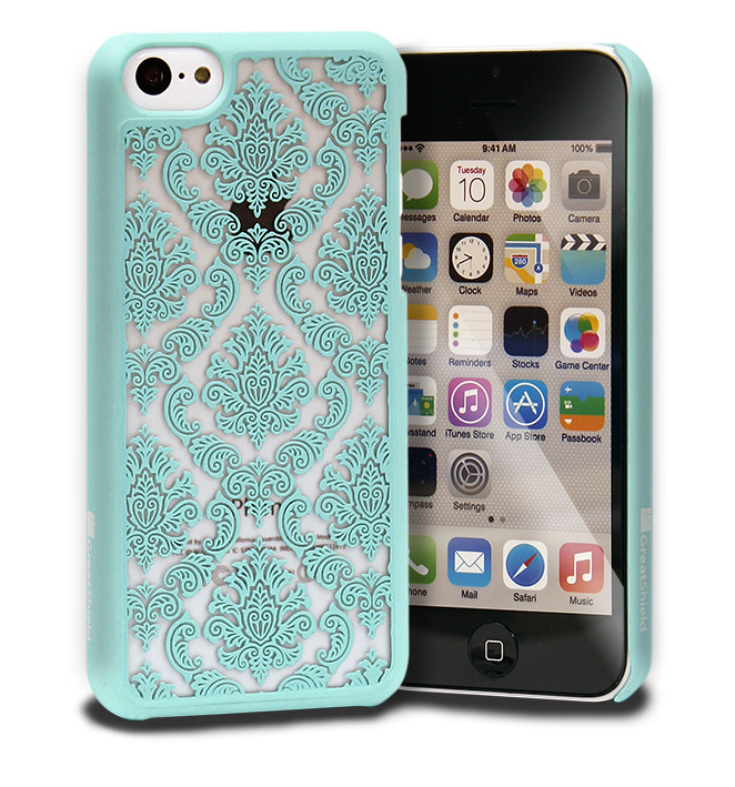Damask Vintage Pattern Rubberized Protector Hard Case Cover For Apple iPhone 5C