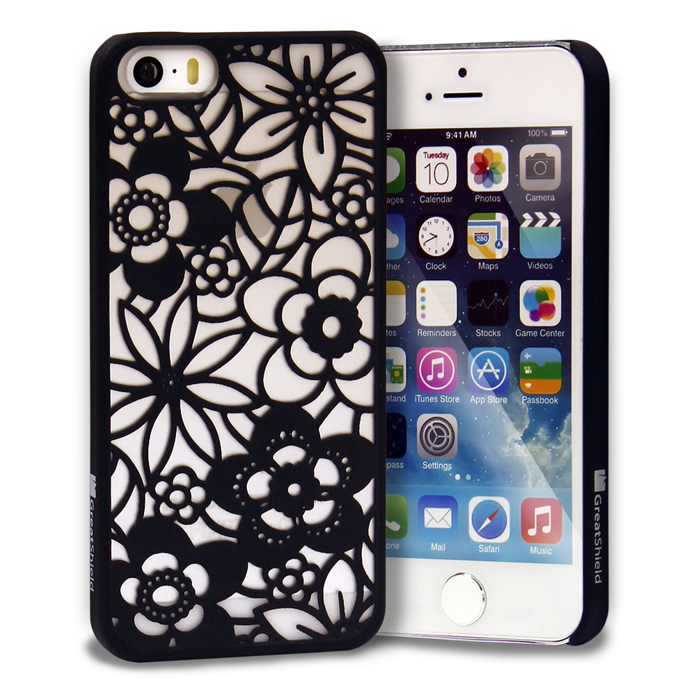 Floral Flower Rubberized Matte Transparent Case Cover for Apple iPhone SE 5S 5