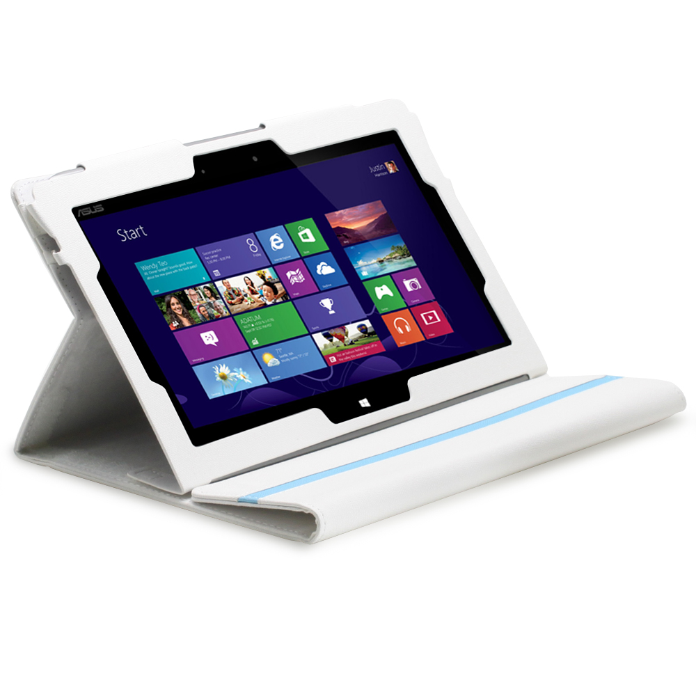 White Leather Stand Case W Keyboard Holder For Microsoft