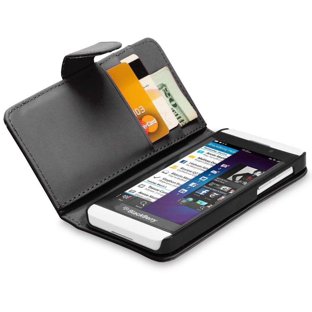 Luxury Flip Folio PU Leather Wallet Pouch Cover Case For BlackBerry Z10 - Black